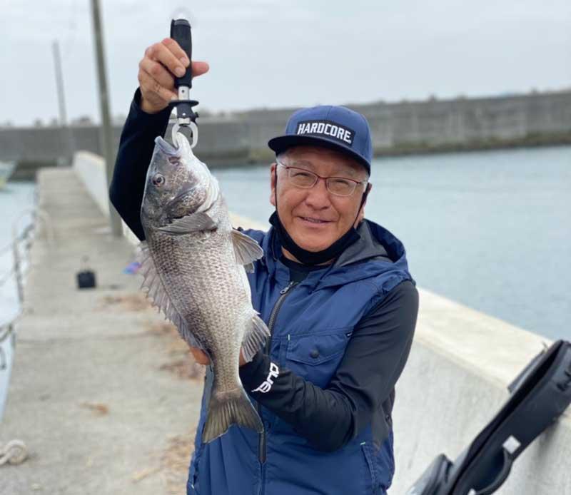 周防大島で釣った良型チヌ